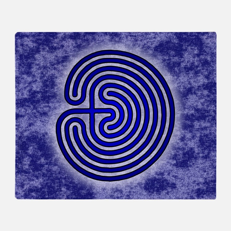 Blue Meis Galicia Labyrinth Throw Blanket