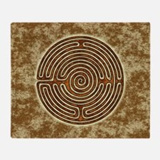 Brown Bayeux Cathedral Labyrinth Throw Blanket