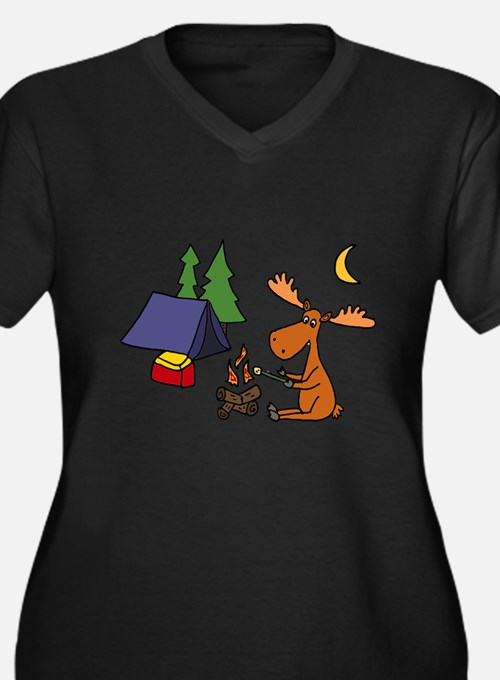 Funny Moose Camping Plus Size T-Shirt