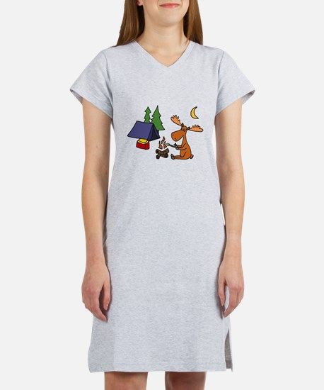Funny Moose Camping Women's Nightshirt