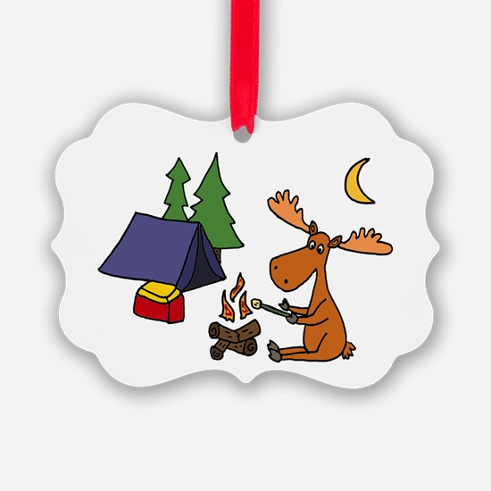 Funny Moose Camping Ornament