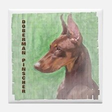 Red Doberman Pinscher 2 Tile Coaster