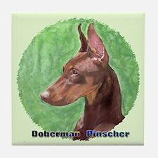 Red Doberman Pinscher 1 Tile Coaster