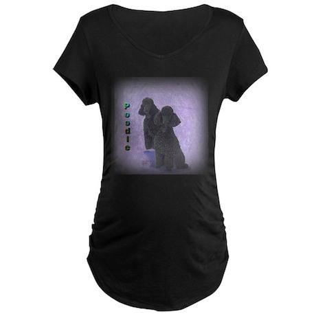 Black Miniature Poodles 2 Maternity Dark T-Shirt