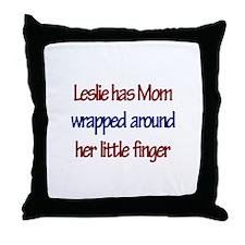 Leslie Has Mom Wrapped Around Throw Pillow