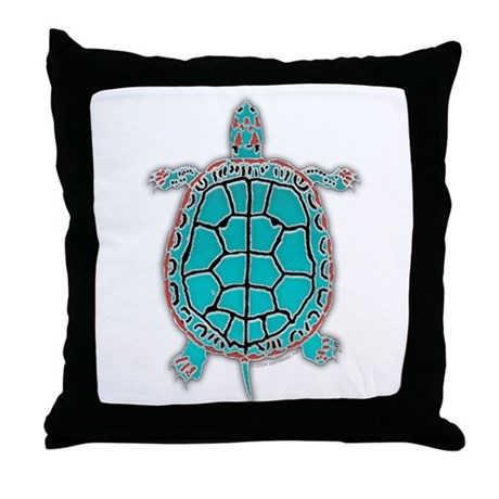 Native American Turquoise Turtle Throw Pillow