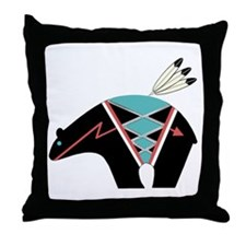 Hopi Bear Fetish Throw Pillow