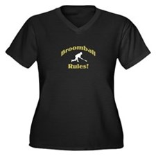 Broomball Rules Women's Plus Size V-Neck Dark T-Sh
