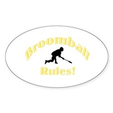 Broomball Rules Oval Decal