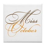 Miss October Beauty Pageant Tile Coaster