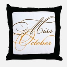 Miss October Beauty Pageant Throw Pillow