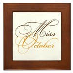 Miss October Beauty Pageant Framed Tile