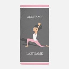 Pink and Gray Yoga Personalized Beach Towel