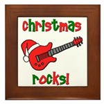 Christmas Rocks! Guitar Santa Framed Tile