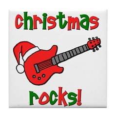 Christmas Rocks! Guitar Santa Tile Coaster