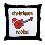 Christmas Rocks! Guitar Santa Throw Pillow