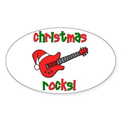 Christmas Rocks! Guitar Santa Oval Decal