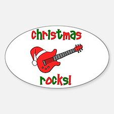 Christmas Rocks! Guitar Santa Oval Decal