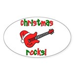 Christmas Rocks! Guitar Santa Oval Sticker