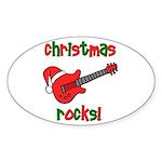 Christmas Rocks! Guitar Santa Oval Sticker