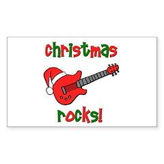 Christmas Rocks! Guitar Santa Sticker (Rectangular