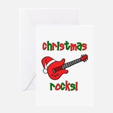Christmas Rocks! Guitar Santa Greeting Card
