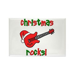 Christmas Rocks! Guitar Santa Rectangle Magnet