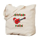 Christmas Rocks! Guitar Santa Tote Bag