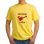 Christmas Rocks! Guitar Santa Yellow T-Shirt