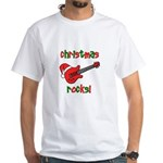 Christmas Rocks! Guitar Santa White T-Shirt