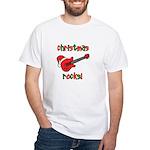 Christmas Rocks! Guitar Santa White T-Shirt