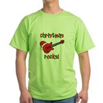 Christmas Rocks! Guitar Santa Green T-Shirt