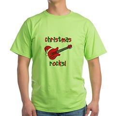 Christmas Rocks! Guitar Santa Green T-Shirt