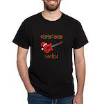 Christmas Rocks! Guitar Santa Dark T-Shirt