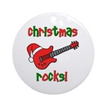 Christmas Rocks! Guitar Santa Ornament (Round)