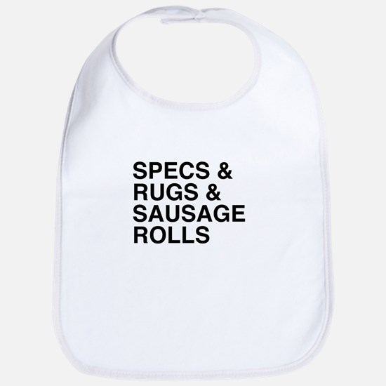 Specs and Rugs and Sausage Rolls Bib