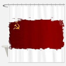 USSR Flag Grunge Shower Curtain