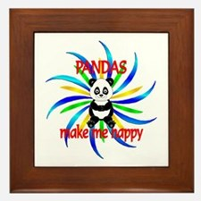 Pandas Make Me Happy Framed Tile