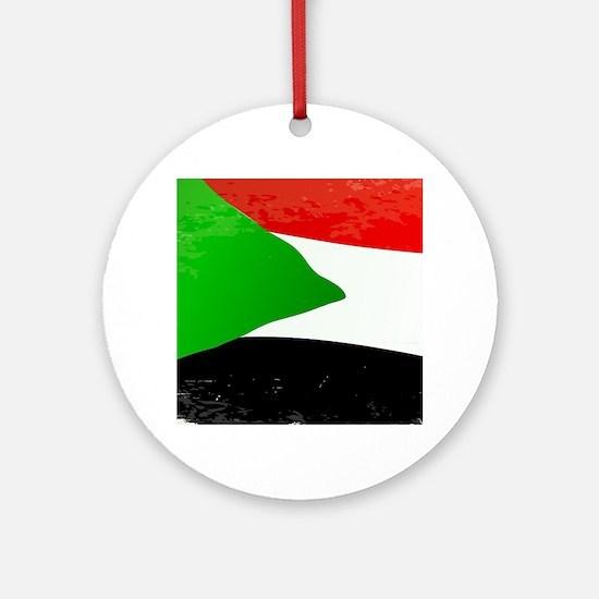 Sudan Grunge Flag Round Ornament