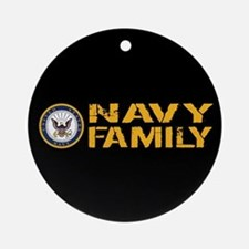 U.S. Navy: Navy Family (Black) Round Ornament
