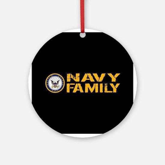 U.S. Navy: Navy Family (Black) Round Ornament