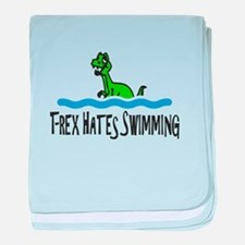 T Rex Hates Swimming baby blanket