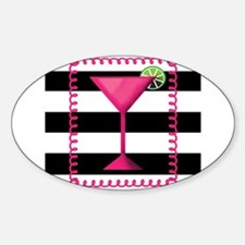 Pink Cocktail Black Stripes Decal