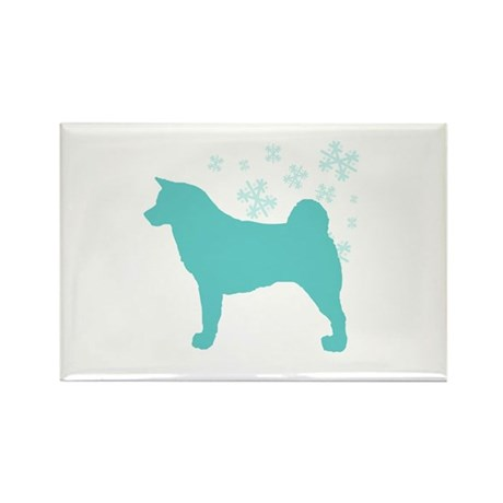 Akita Snowflake Rectangle Magnet (10 pack)