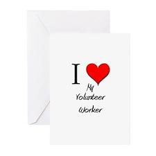 I Love My Volunteer Worker Greeting Cards (Pk of 1