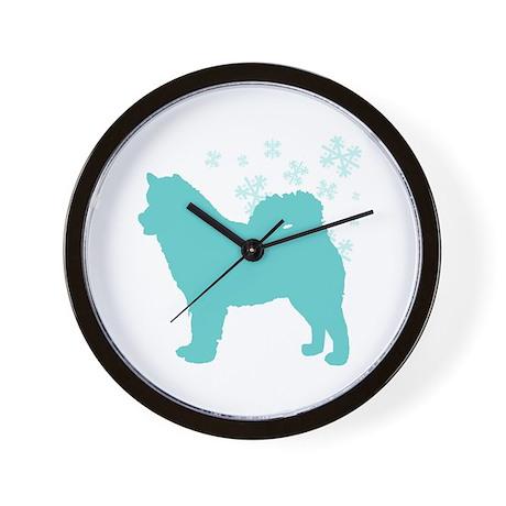 Alaskan Malamute Snowflake Wall Clock