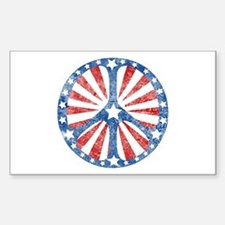 Retro American Peace Sign Rectangle Decal