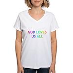 GOD LOVES US ALL Women's V-Neck T-Shirt