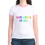 GOD LOVES US ALL Jr. Ringer T-Shirt
