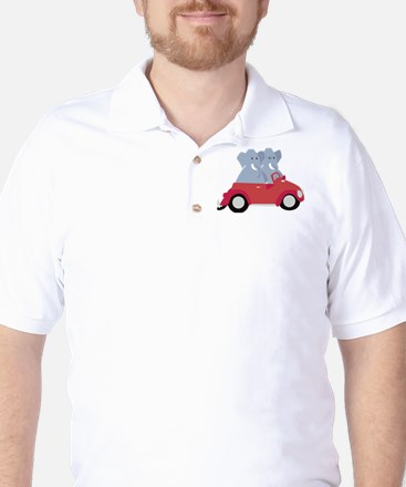 Funny elephants in red beetle car Golf Shirt